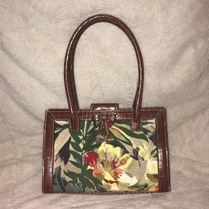 Liz Claiborne brown w/ floral print purse